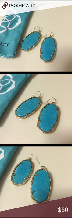 Classic Turquoise Danielle Kendra earrings. In excellent condition. The ear wires are brand-new. The turquoise has a very nice detailing. Comes with dust bag Kendra Scott Jewelry Earrings