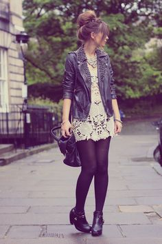 Leather over lace. Love it minus the shoes.