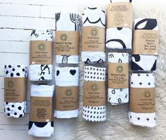 A Modern Burlap collection of high contrast, black and white organic cotton muslin swaddle blanket designs in fun, modern patterns! Shop ALL swaddles, including calendar swaddles and scripture swaddles, at www.modernburlap.com.