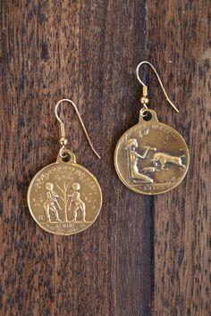charm/coin earrings
