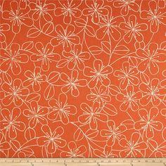 Kaufman Sevenberry Canvas Cotton Flax Prints Etched Flowers Melon - Discount Designer Fabric -  Fabric.com