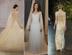streamer shoulder wedding dress trend (love the first dress, not the shoulder streamers)