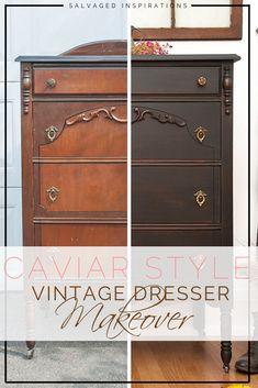 Caviar Style Vintage Dresser Makeover - New ideas Black Painted Furniture, Refurbished Furniture, Paint Furniture, Repurposed Furniture, Furniture Projects, Vintage Furniture, Cool Furniture, Rustic Furniture, Mismatched Furniture