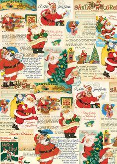 Christmas Santa Cavallini 2 Designs//12 Cards Tin of Glittered Petite Notes