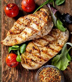Grilled Chicken Fillets Vegetables Top View Stock Photo (Edit Now) 363348308 Healthy Summer Recipes, Healthy Eating Recipes, Healthy Snacks, Fun Snacks For Kids, Grilled Chicken Recipes, Turkey Recipes, Yummy Snacks, Grilling Recipes, Entrees