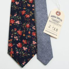 deadstock navy floral & navy chambray necktie