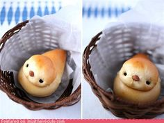 Baby bread birds. I have to make these! Their little faces are too cute.  I bet you could make a cute chick with the same idea for Easter.