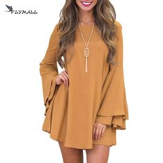 Winter Mini Dress Women Long Flare Sleeve Dresses Brief Loose Casual A line Dress 2017 Women Loose Solid Dress Robe Backless