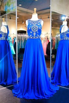Wonderful A Line Sleeveless Long Royal Blue Chiffon Beaded Prom Dress Royal Blue Prom Dresses, Prom Dresses 2017, Prom Dresses For Sale, Formal Dresses, Beaded Prom Dress, Beaded Chiffon, Glamour, Gowns, Couture