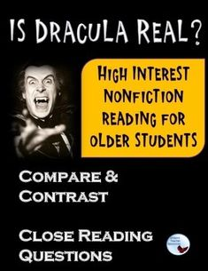 Dracula Nonfiction Reading. This is a three page original text comparing Bram Stoker's Dracula to Vlad the Impaler.  Included with the reading are compare and contrast organizers plus leveled questions for short constructed response.