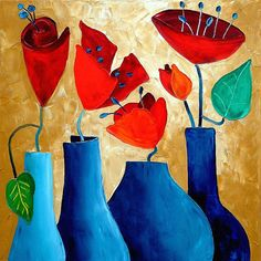 Items similar to Abstract red flowers with beautiful blue vases on Etsy