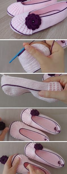 How to Crochet These Beautiful Slippers - Design Peak - The Effective Pictures We Offer You About anello gioiello A quality picture can tell you many thin - Crochet Crafts, Crochet Projects, Free Crochet, Knit Crochet, Crochet Granny, Crochet Boots, Crochet Slippers, Crochet Clothes, Knitting Patterns