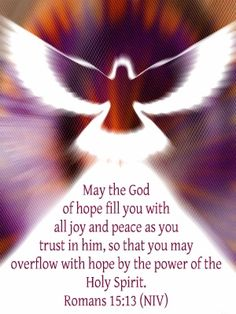 May the God of hope fill you with all joy and peace as you trust in him, so that you may overflow with hope by the power of the Holy Spirit. - Romans 15:13 (NIV)