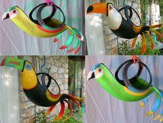 pneus em lindos vasos inspirados em aves.