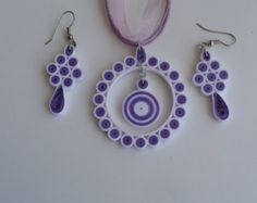 Quilling Jewelry Set: One pair Earring And one Necklace