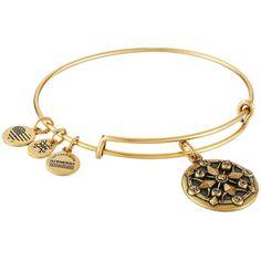 Alex and Ani Compass II Bracelet (Gold) Bracelet (€25) ❤ liked on Polyvore featuring jewelry, bracelets, yellow gold charms, gold jewelry, gold charm jewelry, adjustable bangle and yellow gold jewelry
