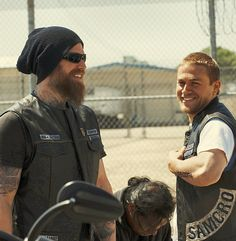 a very rare picture...Opie and Jax both smiling.