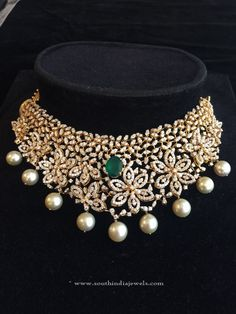 Indian Diamond Choker Necklace Designs, Diamond Choker Necklace Models, Diamond Choker Necklace in India.
