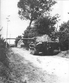 Panther in Normandy - June 1944: as can be seen from the length of its 75 mm high velocity gun it significantly outgunned the Sherman, nominally of the same calibre (see photo nearby). The Panther was probably the best all round tank of the war, but significantly more expensive to produce than designs such as the fine Soviet T34.