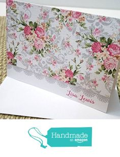 Personalized Gray Border Floral Stationery Set, Personalized Note cards, Personalized Thank you cards, Set of 12 folded note cards and envelopes. from Mis Creaciones by Patricia Chalas http://www.amazon.com/dp/B01DOWFE9W/ref=hnd_sw_r_pi_dp_poM.wb0SCGC0H #handmadeatamazon