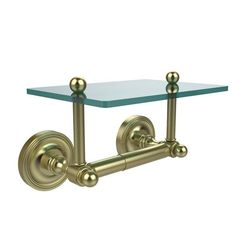 Prestige Regal Collection Two Post Toilet Tissue Holder with Glass Shelf, Satin Brass - (In No Image Available)