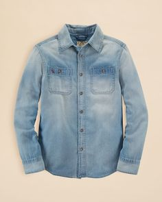 Ralph Lauren Childrenswear Boys' Denim Button Down Shirt - Sizes S-xl