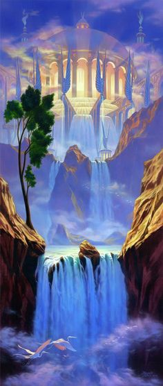 "River of life--- Revelation And he showed me a pure river of water of life, clear as crystal, proceeding from the throne of God and the Lamb.""Zion"" by Jeff Haynie Fantasy Places, Fantasy World, Art Prophétique, Image Jesus, Art Visionnaire, Revelation 22, Creation Art, Prophetic Art, Fantasy Kunst"