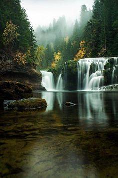 Peaceful Waterfalls nature fog peaceful beauty waterfalls