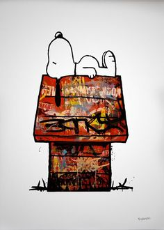 This might be cool for an art history project.  They have to design the house inspired by different artworks or artist.    Another pinner wrote: Urban Snoopy. Would make cool sketchbook project, update old comics or tv shows