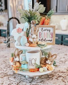 Every bunny welcome tiered tray Easter Table, Easter Party, Kitchen Tray, Tray Styling, Tiered Stand, Diy Easter Decorations, Spring Home Decor, Hoppy Easter, Tray Decor