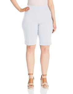 Ruby Rd. Women's Plus-Size Pull-On Solar Millennium Short, White, 20W -- Read more reviews of the product by visiting the link on the image.