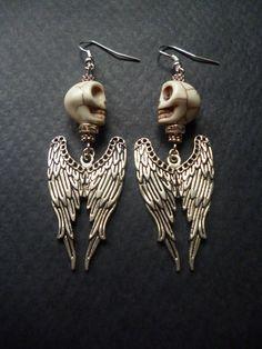 Angel wing and skull earrings Howlite skull beads by BleedingHD