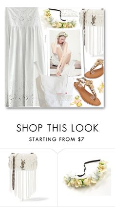 """""""Boho Bride"""" by beebeely-look ❤ liked on Polyvore featuring Yves Saint Laurent, Pippa Small, white, boho, Bohemian, sammydress and BohoStyle"""