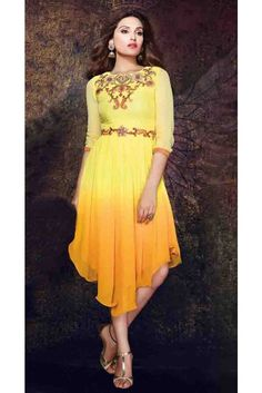 Adorable Yellow Georgette Readymade Kurti