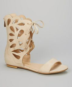 Another great find on #zulily! Nude Cutout Lace-Up Sabrina Sandal by Chase & Chloe #zulilyfinds