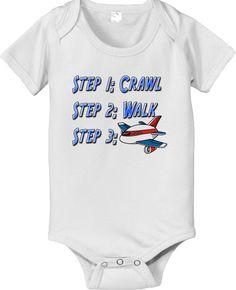 Steps crawl walk future airplane pilot baby by CustomTeesForTots, $14.25