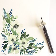 One of a kind, original hand painted watercolor. Blue Bonnets, Floral Watercolor, My Etsy Shop, Hair Accessories, Ink, Unique Jewelry, Handmade Gifts, Watercolors, Florals