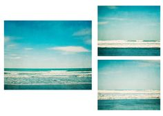 Teal Ocean set of 3 beach photos, 11x14 and 2 8x10, beach decor, teal, turquoise, waves, beach decor, ocean photography, beach wall art
