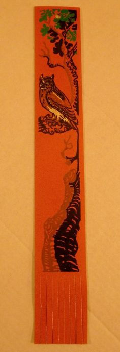 Vintage Antioch Leather Bookmark - Owl In A Tree