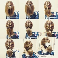 39 Easy And Effortless Ponytail Hair Ideas That Look Salon-made If you find the classic ponytail boring and want to jazz it up a notch, we have the best ponytail hair ideas for you to make it a conversation starter. Short Hair Updo, Ponytail Hairstyles, Pretty Hairstyles, Girl Hairstyles, Medium Hair Styles, Short Hair Styles, Hair Arrange, Playing With Hair, Bad Hair