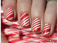 clean candy cane stripes (with single dark red sparkle stripe for contrast in varying position; helps to break up the pattern)