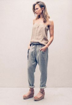 Paige in Humanoid Top, Stone Ranne Pant, and Wedge Sandal. shopheist.com