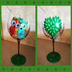 Owl love wineglass www.facebook.com/illym.creating  By I.M.Creating
