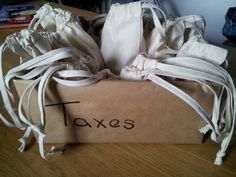 """Robin Hood theme party bags - Love the """"Taxes"""" Box! Fill with gold coin chocolates"""