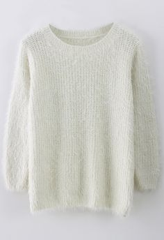 Basic White Fluffy Sweater ~ everyone needs one :)