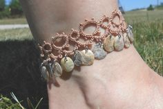 anklet lace anklet tatted anklet bangle anklet charm by MamaTats