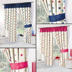Kids Childrens Stars Thermal Blackout Curtains Boys Girls Pink Blue Ready Made