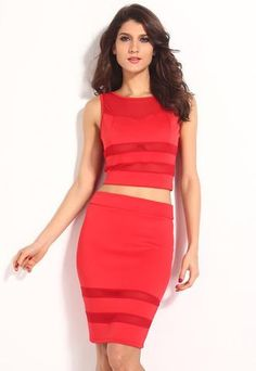 Red Mesh Cut Out Skirt and Top Set - Neptune Wild   - 1