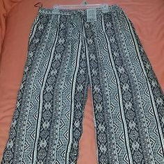 Black and White Maxi Pants Black and White Intricate Design Women Maxi Pants Pants Wide Leg