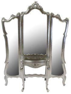 Three Way Mirrors | French Silver Leaf 3 Way Dressing Mirror